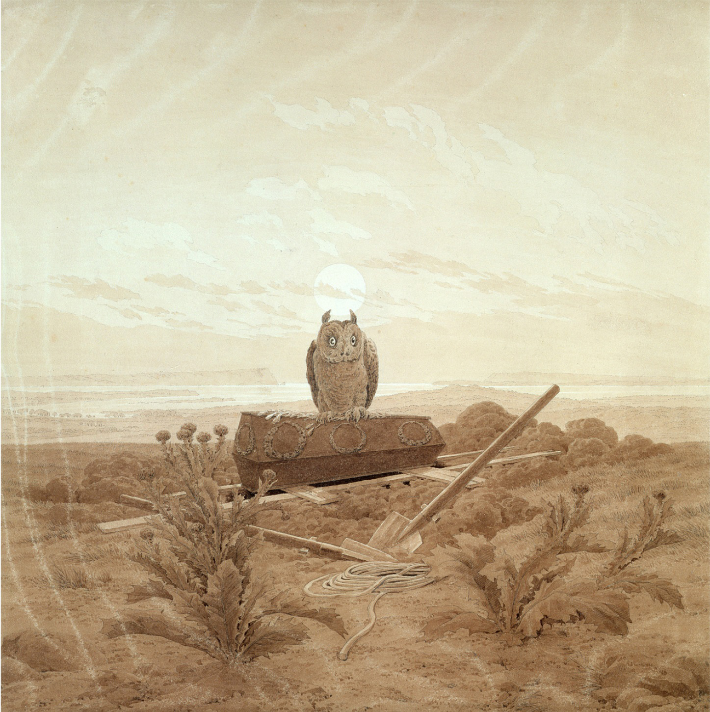 Landscape with Grave, Coffin and Owl (sepia ink and pencil on paper)