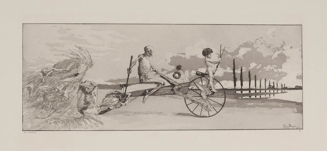 "Max Klinger, ""Intermezzi"" Opus IV, 1881, Plate XII, ""Amor, God und Jenseits."""